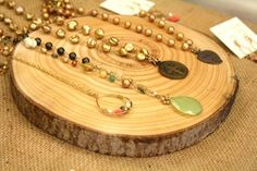 the spring stitch market - love the use of natural timber to display jewellery.