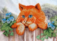 """Beading kit """"Red Cat"""" (VDV). #vdvkiev #embroiderykit #printonfabric #handmade #Preciosa #kitwithbeads #beads #beadingkit"""