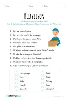 Free worksheets and exercises on the subject of flash reading for the German-Un . 10 Sentences, Word Map, German Language Learning, Learn German, Student Reading, Math For Kids, School Humor, Home Schooling, Elementary Education