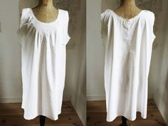 Robe d'Eté, Robe pour Femme Robe Ancienne Vintage France Tunique Brodée TB Femme Romantique Vêtement Bio Broderie Fête des Mères Shabby Chic Old Dresses, Summer Dresses, Shabby Chic, Antique Clothing, Hand Embroidery, Gifts For Women, White Dress, Romantic, France