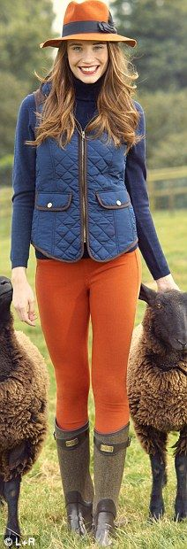 Navy roll neck, £109, purecollection.com Navy gillet, £60, lauraashley.com Orange jeans, £14.90, uniqlo.com/uk Tweed wellies, £145, huhnter-boot.com Helene Berman hat, £60, Fenwick, 020 7629 9161