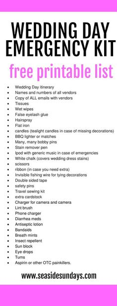What to pack in your wedding day survival kit from an experienced wedding planner.Every bride needs a day-of emergency kit to cover all eventualities. Suggestions on handy must-haves to pack in wedding emergency kits from a wedding planner who has been there! Free printable list. You can be prepared for all possible situations by making a bridal emergency kit that you can bring along with you. Great gift idea from the bridesmaids or Mother-of-the-bride.