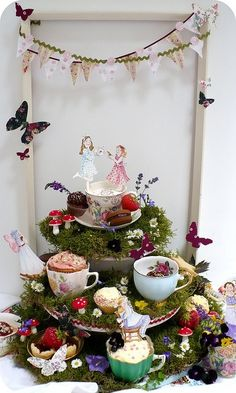 inspiration for the tea set and fairy dishes display - note: the mushrooms