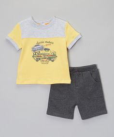 Loving this Yellow 'Classic Motors' Tee & Gray Shorts - Infant & Toddler on #zulily! #zulilyfinds