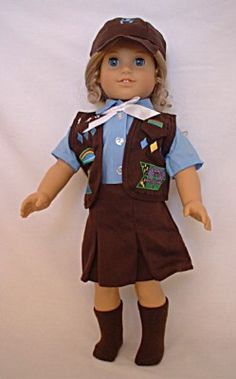 Brownie Scout Uniform for 18 inch American Girl Dolls- This is cute, but my AG dolls are both too old for Brownies :)