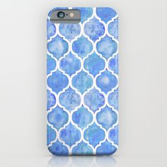 Cornflower Blue Moroccan Hand Painted Watercolor Pattern iPhone & iPod Case