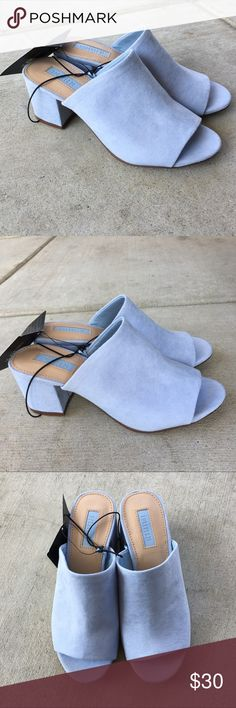 NWT Forever 21 powder blue suede mules Sz 5 Brand New super cute muels💕 Forever 21 Shoes Mules & Clogs