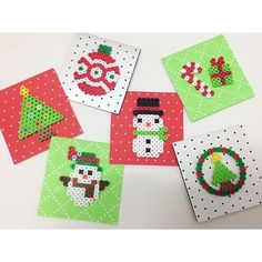 Christmas cards perler beads by ongfactory Pixel Beads, Fuse Beads, Homemade Christmas Decorations, Holiday Crafts, Hama Beads Patterns, Beading Patterns, Christmas Perler Beads, Beading For Kids, Iron Beads
