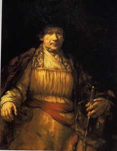 Exam 2: Rembrandt van Rijn, Self-Portrait 1658. Rembrandt is dressed in very rich clothes, showing his wealth as a painter. Would showcase his ability to make likenesses. As he got older Rembrandt used looser and looser brushstrokes.