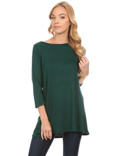 a6bce095de0ca Simlu - Simlu Womens Basic 3 4 Sleeve Long A-Line Top Swing Tank Top Tunic  Dress - USA - Walmart.com