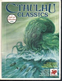 Cthulhu Classics (Call of Cthulhu RPG) by Scott Aniolowski and Sandy Petersen (Oct 1989) | Book cover and interior art for Call of Cthulhu Roleplaying Game - CoC, Basic Role-Playing System, BRP, The Card Game, TCG, Living Card Game, LCG, Miskatonic University, H. P. Lovecraft, fantasy, horror, Role Playing Game, RPG, Chaosium Inc. | Create your own roleplaying game books w/ RPG Bard: www.rpgbard.com | Not Trusty Sword art: click artwork for source