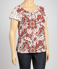Take a look at this White & Red Bold Paisley Short-Sleeve Top - Plus by Christine V on #zulily today!