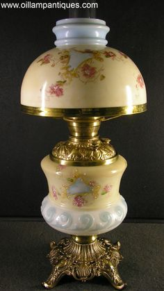 """Original~Matching half shade~""""Gone with the Wind""""~Parlor lamp is very attractive and appealing~The use of a combination of delicate floral transfers with hand painted highlights and pastel colors combine to create a very understated elegance~Circa 1890's"""