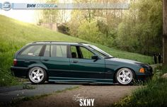 Fantastic boston green BMW e36 touring on super rare RH AC Schnitzer type 2 racing wheels