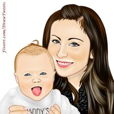 #BeautifulMother with Her #AwesomeKid #art piece inspired by Jenn. Let us draw you in http://Fiverr.com/DrawTweets  #drawing #cartoon #caricature