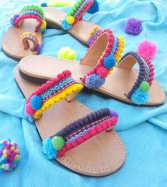 Pom pom Sandals Greek leather sandals Boho by DimitrasWorkshop Hippie Shoes, Bohemian Shoes, Boho Sandals, Sandals Outfit, Leather Sandals, Shoes Sandals, Hippie Chic, Boho Chic, Pom Pom Sandals