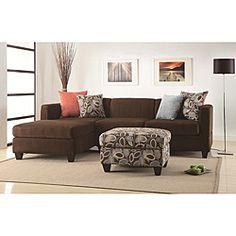 Bobkona Poundex Simplistic Collection Sectional Sofa With Ottoman, Dark  Chocolate