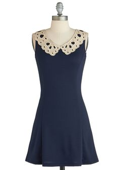 Pretty Place Setting Dress - Blue, Gold, Eyelet, Vintage Inspired, Sleeveless, Collared, Peter Pan Collar, Party, A-line, Exclusives, Short, Solid