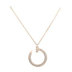Cartier Juste un Clou Diamond Rose Gold Pendant Necklace | From a unique collection of vintage necklace enhancers at https://www.1stdibs.com/jewelry/necklaces/necklace-enhancers/