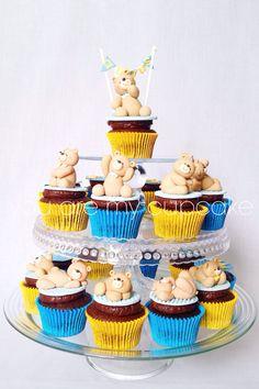 Teddy bears cupcake tower