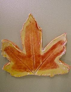 autumn leaves in clay