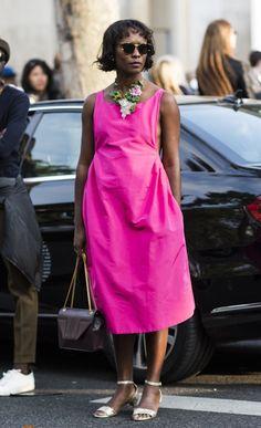 popping pink. #ShalaMonroque splashing some colour around in Paris.