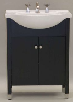 Modern Bathroom Vanities Small white modern bathroom vanity w/ three panel folding mirror https