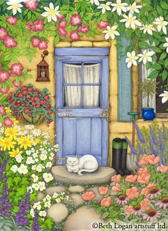 'The Blue Door' ~ Beth Logan - sweet detail for a painted house rock