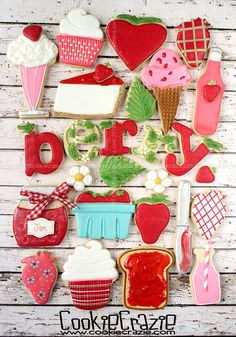 Strawberry Decorated Sugar Cookie Collection 2016 Basic Cookies, Best Sugar Cookies, Fancy Cookies, Iced Cookies, Cute Cookies, Sugar Cookies Recipe, Cookie Recipes, Cookie Ideas, Cookie Frosting