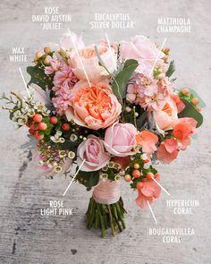 Peach / coral hued bouquet | Floral Bouquet Recipes by Colour: