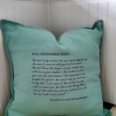 """Our """"Remember When"""" cushion is hand printed with personalised memories for friends, family members and loved ones. Share a special memory on a cushion that is unique and sentimental to your relationship. Available Colours: Teal Grey Pink Please specify who you would like to share this memory with when you email about the customisation."""