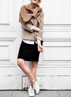 neutral knit layers, black skirt & sneakers #style #fashion
