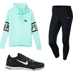 Lets workout by mayizquierdo13 on Polyvore featuring polyvore fashion style Victoria's Secret PINK NIKE