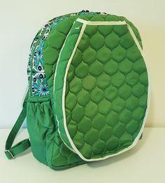 Tennis Backpack by Cinda B Quilted, Water Resistant Bag in Verde Bonita Green #CindaB