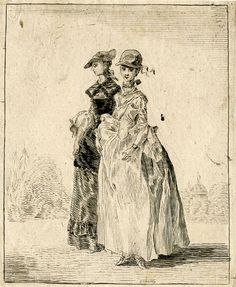 Two fashionably dressed ladies walking arm-in-arm to left, the nearest smiling towards the viewer, the other looking to left; with trees and a domed classical temple in the background; lettering in upper image erased.  Etching on chine