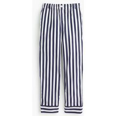 Thomas Mason® for J.Crew cropped striped pant ($138) ❤ liked on Polyvore featuring pants, capris, straight leg trousers, straight leg pants, cotton crop pants, cropped capri pants and cropped pants