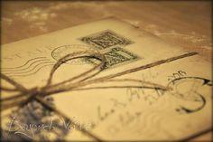 Carte postale wedding invitation - Lavender  - Vintage wedding stationery - Beyond Verve