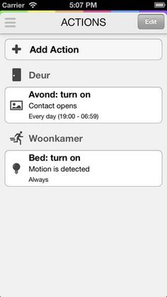 HomeWizard iPhone app - actions screen