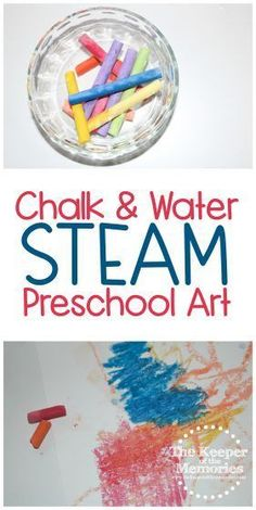 Artist Preschool Monthly Theme Chalk & Water Science & Nature STEAM Investigation Station - Kids STEAM & Sensory Activities - Make chalk art! This awesome Artist Preschool Monthly Theme Chalk & Water Science & Nature STEAM In - Science Crafts, Science Art, Science For Kids, Science And Nature, Preschool Crafts, Art For Kids, Preschool Artist Theme, Art Center Preschool, Preschool Monthly Themes