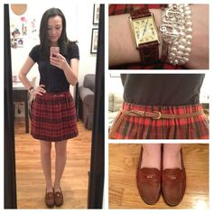 OOTD | plaid hatter (Taken with Instagram) Polo, Lacoste Skirt, J. Crew (old) Loafers, Eastland