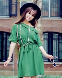 DR002548 Korean style mixed colors pinched waist sling dress