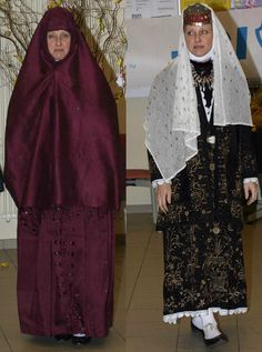 "A well-to-do lady outdoors and indoors.  For outdoors (left), she is wrapped in a very large ""Bağdad bürgüsü"" ('bürgü', or 'ferace', which is a kind of baggy cloak).  This one is made of silk brocade, with tiny golden stars woven into the fabric.  Late Ottoman, urban, 19th century (left: late 19th century, right: circa 1800).  Both the 'bürgü' and the 'bindallı' embroidered costume are from Konya.  (Kavak Folklor Ekibi & Costume Collection - Antwerpen/Belgium)."