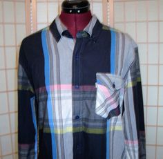 Levi's Sz M Madras Plaid Multi Color Cotton Blend Shirt W/ Button Down Collar #Levis #ButtonFront
