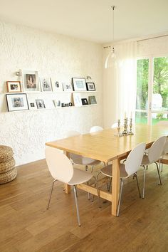 norden dining table- ours has the bench and birch bentwood chairs at the ends