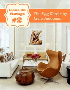 fauteuil oeuf cuir arne jacobsen design vintage