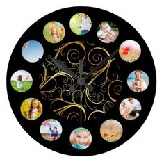 Black Gold Shimmer Swirl Photo Collagel Large Clock find more personalized clocks at www.mouseandmarker.com
