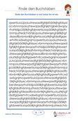 Erkennen und Markieren von a – z Buchstaben im Buchstabenfeld, mit Schriftgröße 20.  26 Arbeitsblätter   1.Klasse.