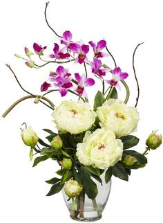 Nearly Natural nearly natural Liquid Illusion White Silk Peony and Orchid Floral Arrangement