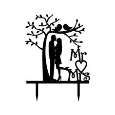 """Topper """"Mr. & Mrs."""" pareja bajo árbol - Impresión comestible Couple Silhouette, Silhouette Art, Cool Art Drawings, Couple Drawings, Shadow Images, Wedding Dress Sketches, Laser Art, Acrylic Cake Topper, Cute Couple Art"""