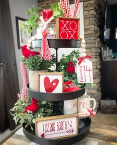 Red & White Valentines Day tiered tray set Mix and match image 5 Diy Valentine's Day Decorations, Valentines Day Decorations, Valentine Day Crafts, Holiday Crafts, Holiday Decor, Valentine Stuff, Valentines Robots, Valentine Tree, Decor Ideas